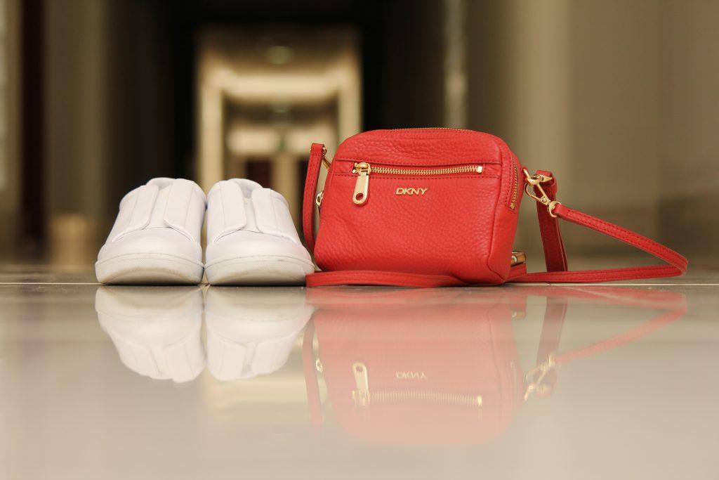 DKNY Cross-body bag| White Zara sneakers