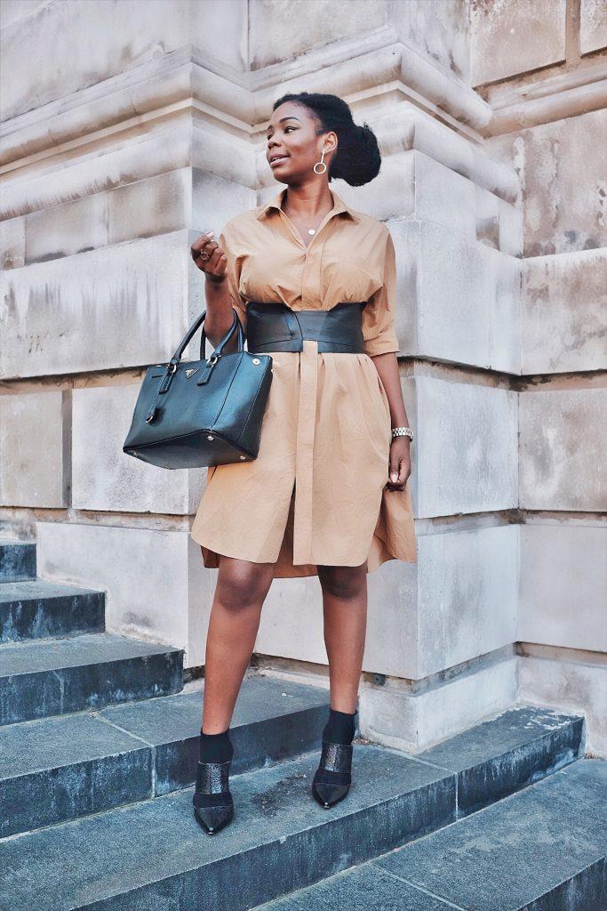 Khaki shirt-dress