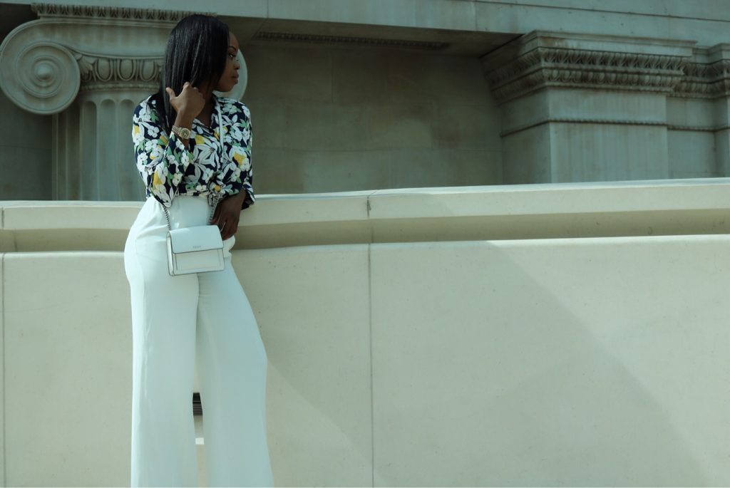 White palazzo pants outfit